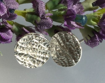 Sterling Silver studs/Disk/silver disk studs/textured silver /textured stud/modern/