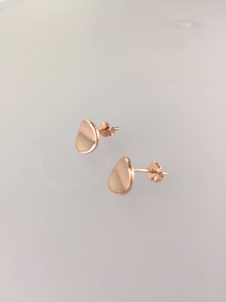 98efb8332 Rose gold studs/Rose gold plated wave | Etsy