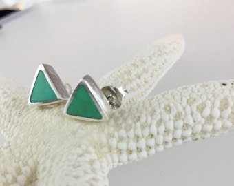 Turquoise triangle studs/turquoise studs/Kingman/Sterling silver studs/triangle studs/silver triangle studs/turquoise/triangle/blue earrings