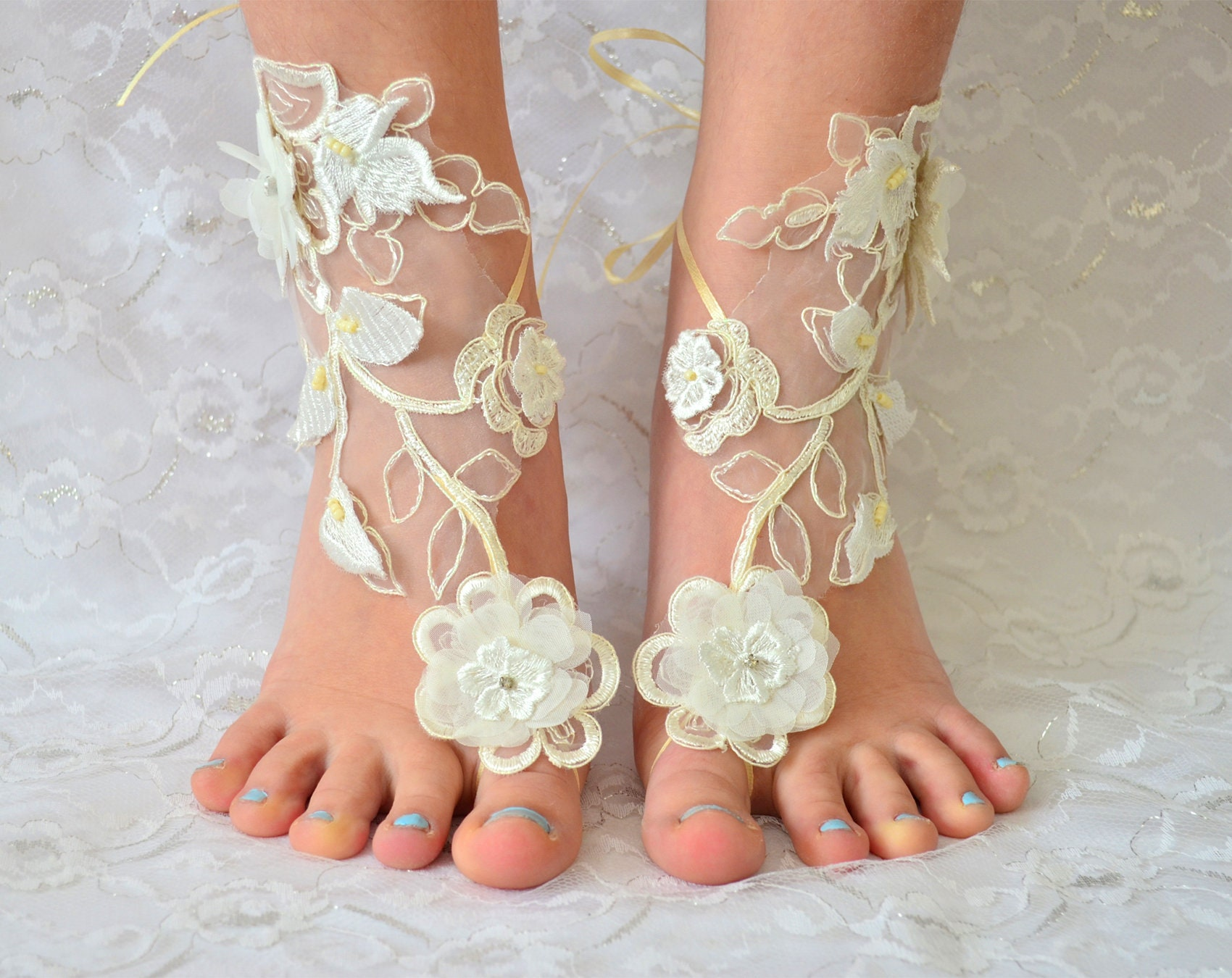 714341822d2ff5 Barefoot Sandals Wedding Shoes Ivory beach wedding shoes