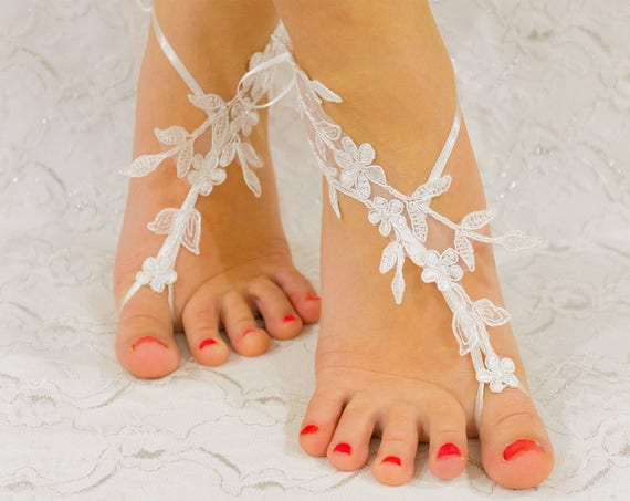 Bridal Sandals | Gift for Bride, Wedding Accessories, Lace Wedding Shoes White, beach wedding shoes, wedding lace shoes, beach shoes 09