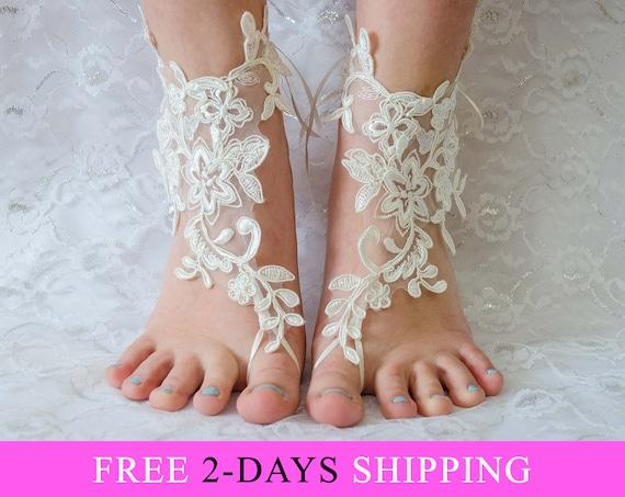 66c1e4250df1c7 ... Barefoot Wedding Sandals Coupon Code Free Shipping bridal Etsy promo  codes f4177 298c0  Ivory barefoot sandals Bridal shoes Lace ...