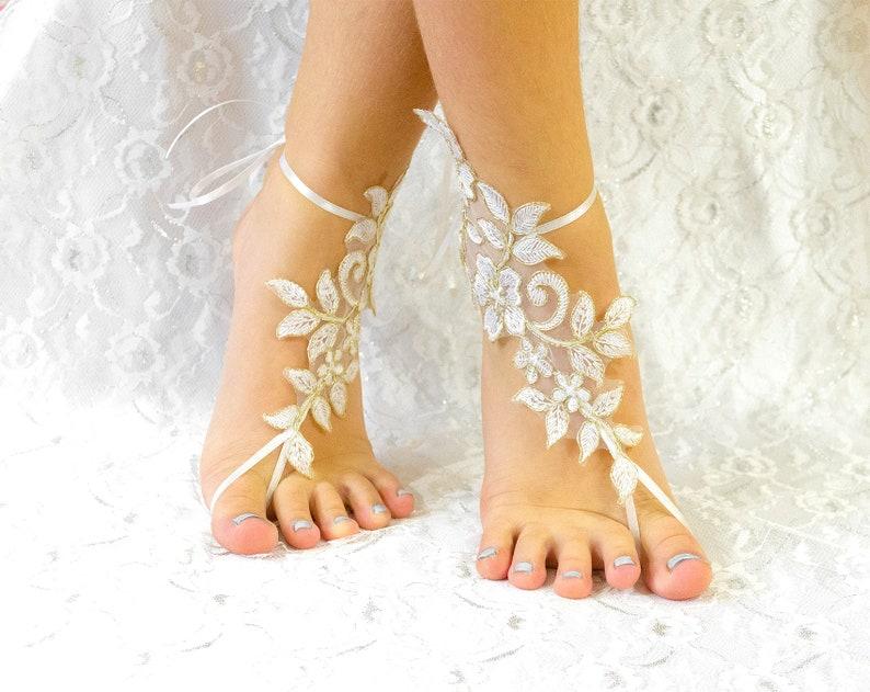 7f7c1d0d30122e Ivory Beach Wedding Lace Barefoot Sandles wedding shoes lace