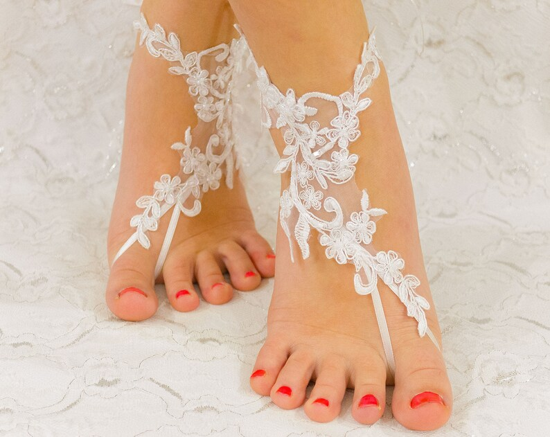 cd7c73f9bda739 Wedding shoes Bridal Anklet Barefoot sandles beach wedding