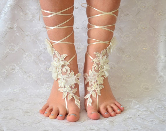 Bridal Sandals | barefoot sandals beach wedding, wedding shoes, bridal lace shoes, wedding party, barefoot sandles 01