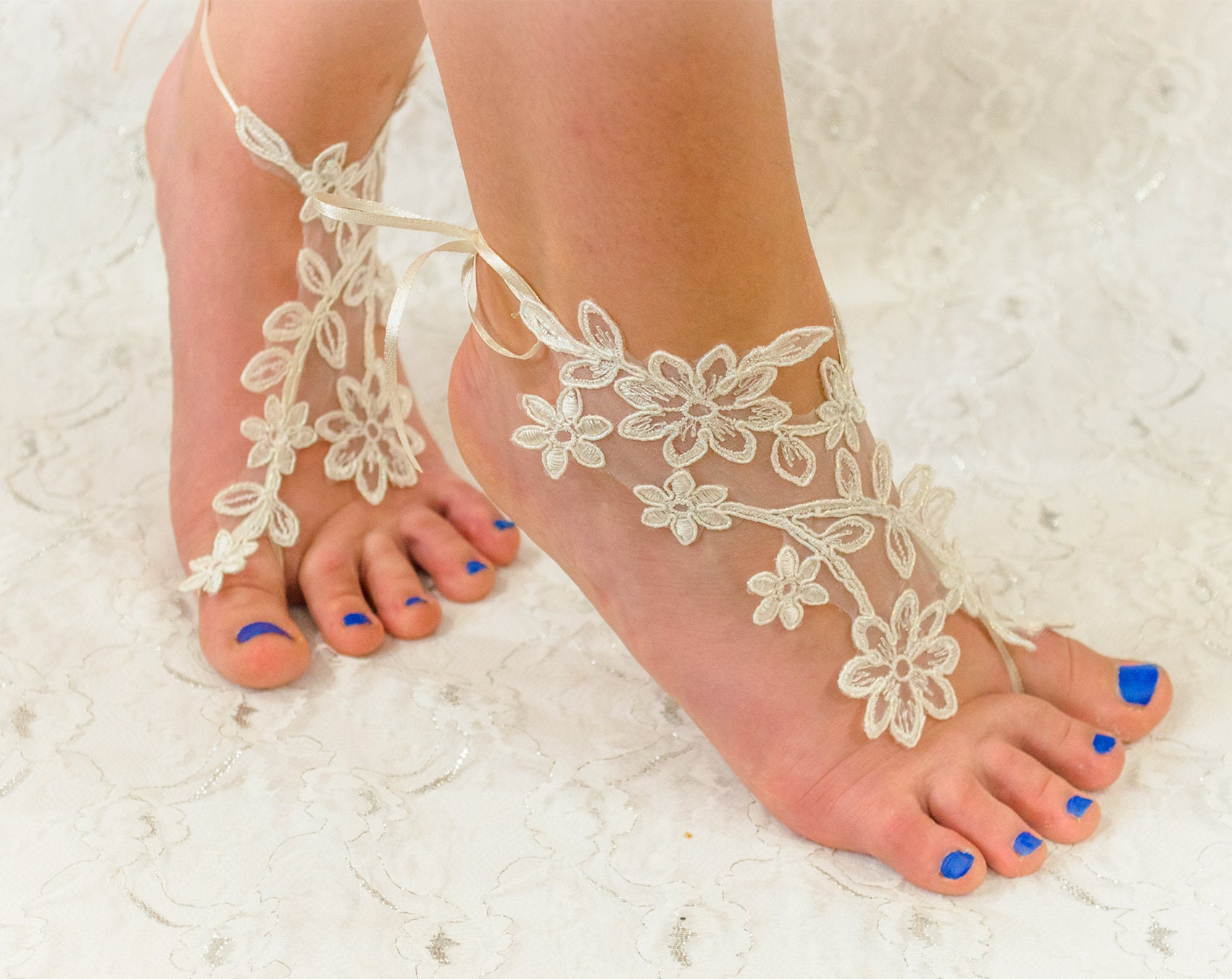 4d66469684101 Barefoot sandles Ivory Lace barefoot sandals beach wedding