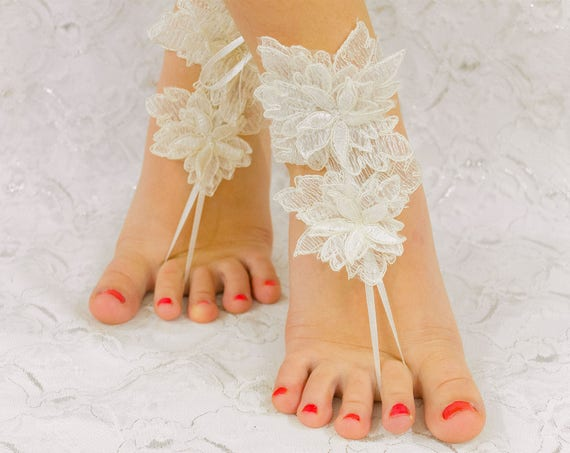 Beach Wedding Barefoot Sandals, Anklet Sandals, Lace Sandals, Bridal Sandals, Bridesmaid sandals, Beach Wedding Shoes, MarrietDress 06