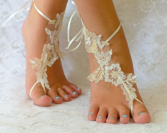 53ad4b8c16c4c4 Beach anklets wedding shoes wedding shoes lace wedding