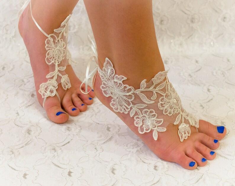350e2d90348305 Barefoot Sandals Ivory Lace Barefoot sandles beach wedding