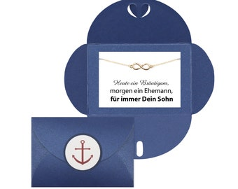 Do you want to be my groomswoman? Dark blue envelope surprise groomswoman anchor bracelet GOLD Groomswoman LOVE planner stickers card