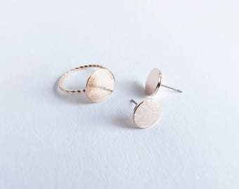 Earring + Ring ROSÉGOLD Circle: Circle SET