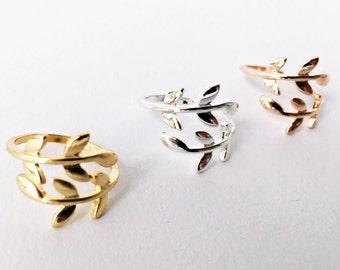 Ring leaves SILVER, flowers, adjustable