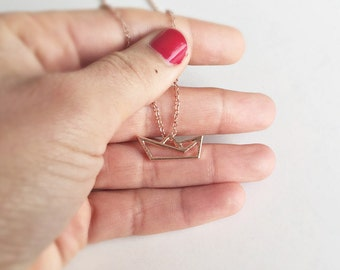 Origami chain boat rose gold, necklace ship