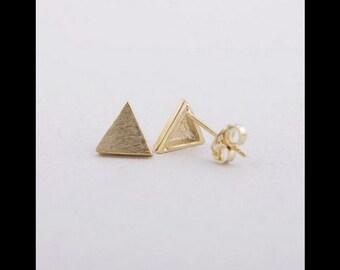 Earrings gold triangle minimalistic jewelry