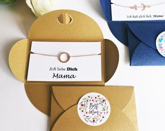 I love you mum: circle bracelet in ROSÉGOLD, brown packaging, best mum stickers