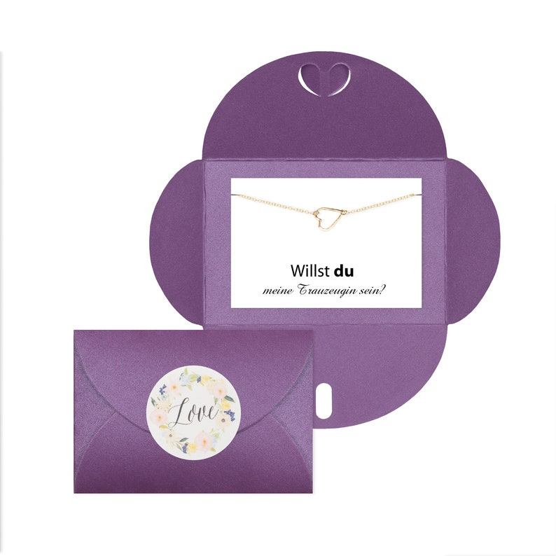 heart bracelet gold Surprise My groomswoman Her Love Do you want to be my groomswoman? Wedding purple envelope love sticker