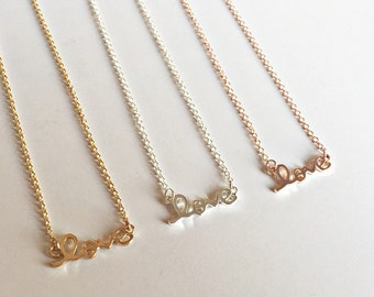 Love and Hope necklace in rose gold, rose gold plated necklace