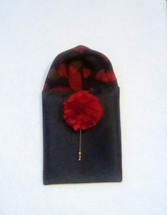 Red pre-folded hand made pocket square
