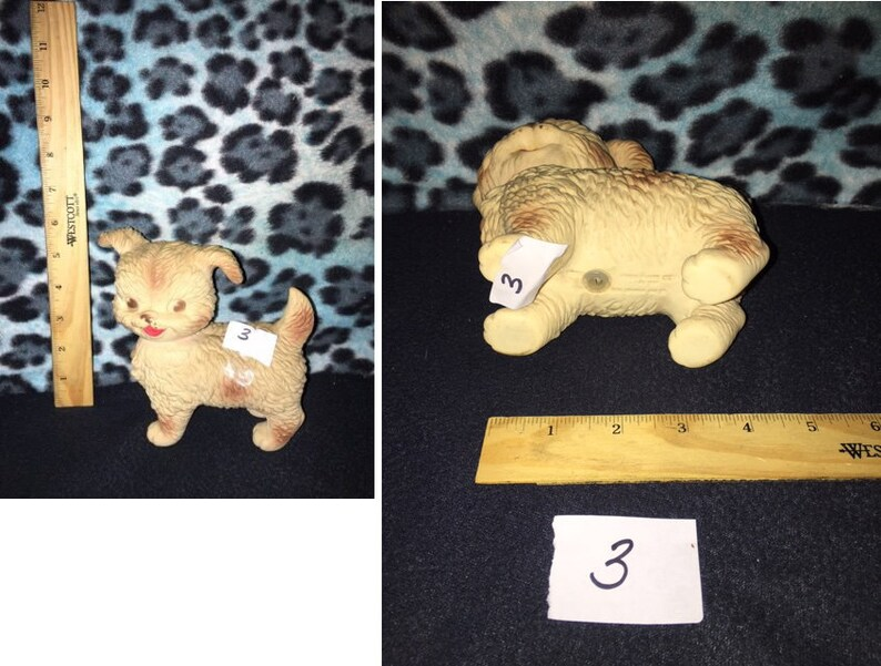 Vintage 6 SMALL Edward Mobley Company Rubber Squeaky Dogs 8 your choice,Toy