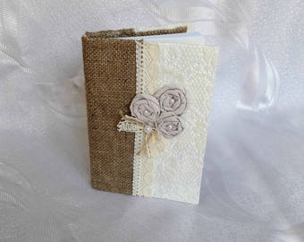 Vintage Journal, Rustic Notebook, Lace Notebook, Burlap Wedding Memory Book, Rustic Memory Book,Burlap Lace Book,Bridal Journal,Lace Journal