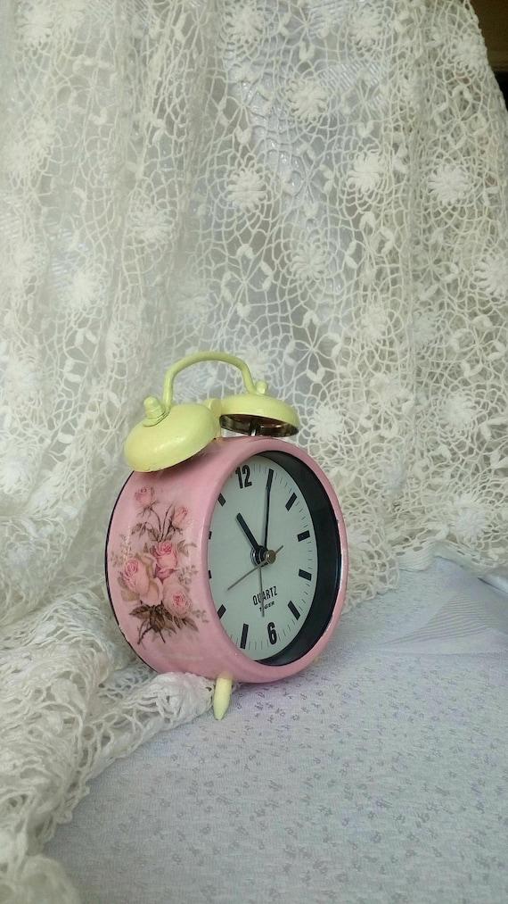 d2a6ef356c0057 Pink Alarm Clock Shabby Chic Clock Retro Alarm Clock Desk