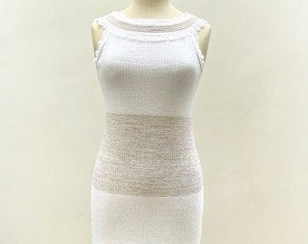 White and gold knitted bodycon dress