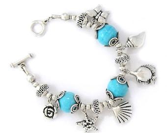 Solid Sterling Silver turquoise stone seaside bracelet