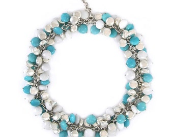 Solid Sterling Silver, white and turquoise stone pebble necklace