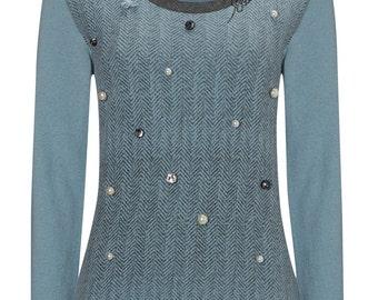 Blue embellished herringbone merino wool jumper