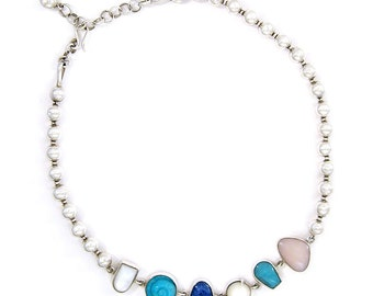 Solid Sterling Silver, pink, white, turquoise and blue stones necklace