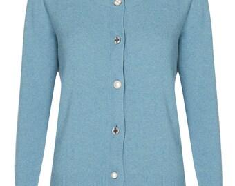 Blue diamonte merino wool cardigan