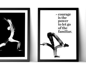 Inspirational yoga print, yoga drawing, yoga studio decor, fun yoga gift, modern yoga portrait, motivational yoga quote, yoga art, spiritual
