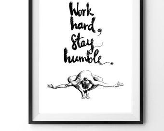 Custom yoga art, yoga drawing, motivational yoga quote art, original yoga print, black and white, inspirational yoga art, yoga studio art