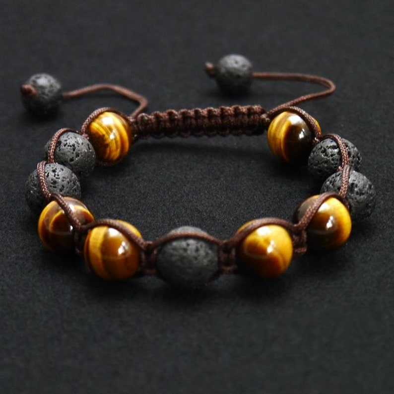 Essential Oil Diffuser Meditation Bracelet Mala Bracelet in Tiger Eye and lava stone Prayer Bead Bracelet Beaded Bracelets Yoga Jewelry