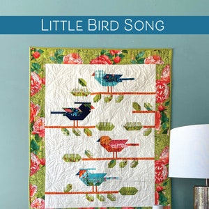 LITTLE BIRD SONG Small Wall Quilt by Robin Pickens 34 x 43,Printed Booklet