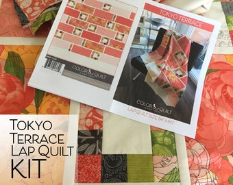 Tokyo Terrace Lap Quilt KIT by Robin Pickens using Blushing Peonies from Moda Fabrics_ easy quick quilt