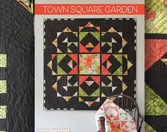 "Quilt Pattern (digital downloadable pdf) of TOWN SQUARE GARDEN Quilt by Robin Pickens / wall quilt (54"" or 38"" square) /light & dark"