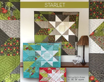"Quilt Pattern of Starlet (digital downloadable PDF) by Robin Pickens in 3 sizes for wall or lap quilts 51"", 38"" or 26"" square"""