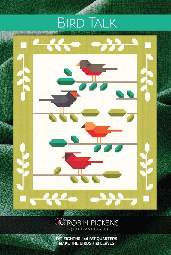 BIRD TALK Quilt Pattern Digital PDF by Robin Pickens, Lap or Twin size