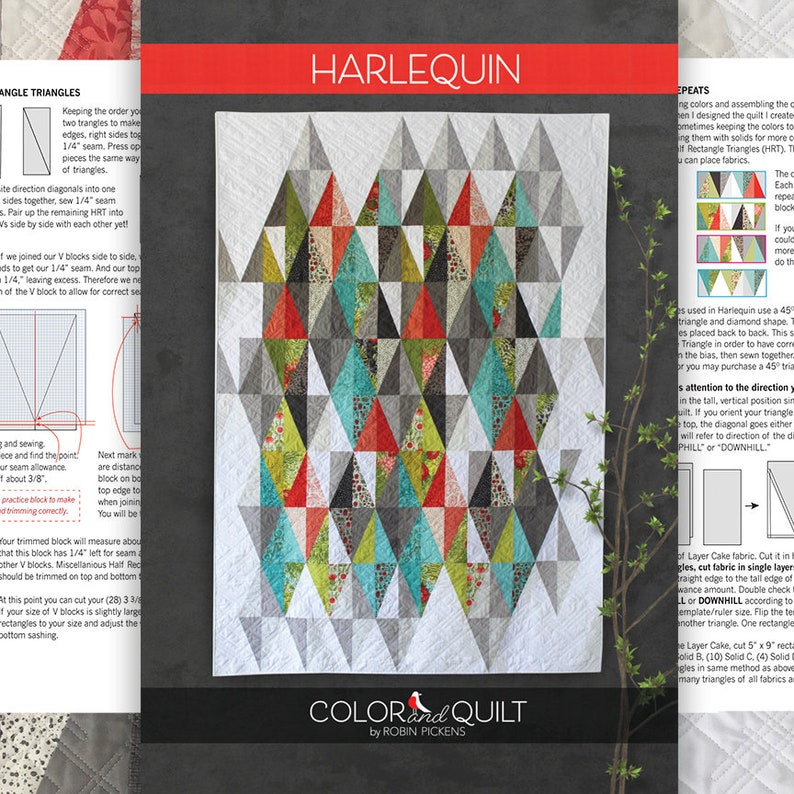 Quilt Pattern of Harlequin (printed booklet) by Robin Pickens /Layer Cake  Precut friendly/49