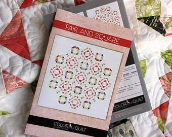 "Quilt Pattern (printed booklet) of FAIR AND SQUARE Quilt by Robin Pickens / Charm pack friendly / Twin bed and Square 68"" Wall sizes"