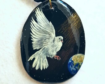 Miniature painting, pendant handpainted wood, Dove, peace, wedding