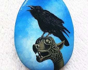Miniature painting, Pendant Raven, Raven, Hand painted on wood, Celtic, Viking