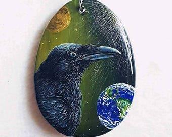 Miniature paintings, raven Raven, hand painted on wood