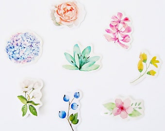 Flowers floral leaves pink peach white green blue purple yellow pick n mix large deco paper stickers collection
