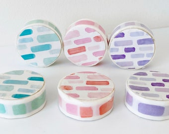 Watercolour oblong stickers for diaries planners calendars on a roll 3m