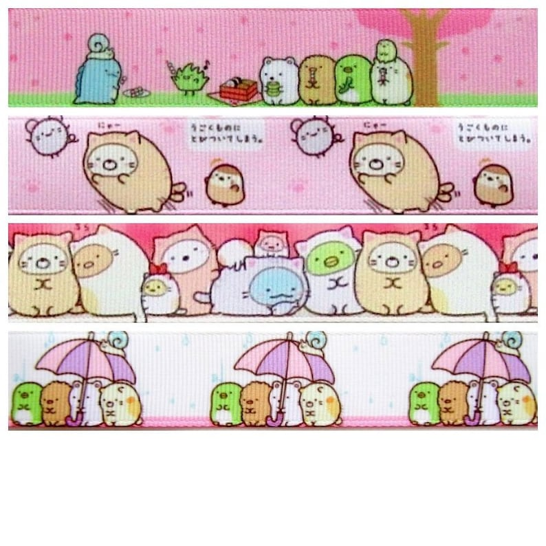 Sumikko Gurashi bear cat penguin cutlet cute kawaii kitsch grosgrain ribbon blue