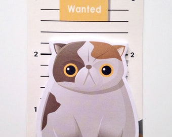 Wanted! Criminal cat mug shot adorable cute kawaii sticky notes memos