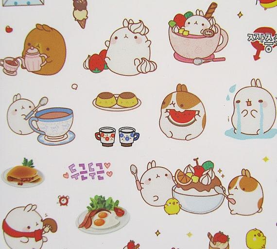 Molang /'Soft Colour/' podgy potato rabbit cute kawaii kitsch 6 sheet sticker set