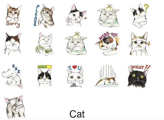 Funny Cartoon Cats Cute Kawaii Washi Sticky Masking Deco Tape Etsy